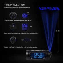 FM Radio Alarm Clock LED Digital Electronic Desk Table Projector Watch With Night Light Snooze Nixie Clock USB Charging