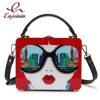 цена на Fashion Diamond Women's Pattern Box Style Acrylic Shoulder Bag Tote Party Purse Crossbody Messenger Bag For Women Bolsa Handbag
