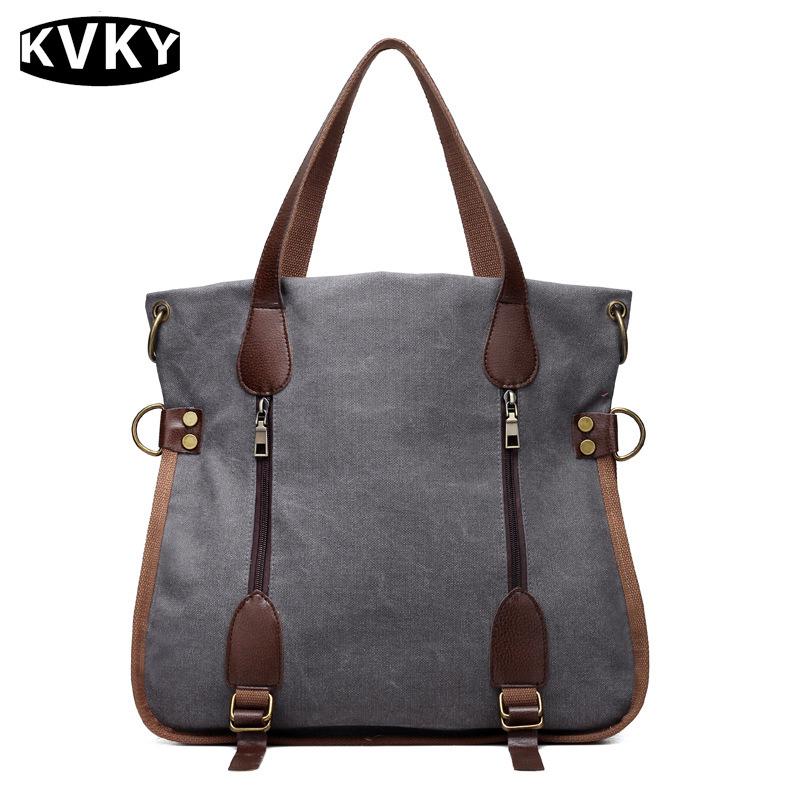KVKY Women Canvas Bag Large Capacity Tote Vintage Canvas Handbags Female Shopping Bag Casual Shoulder Bags Bolsa Feminina WH442 forudesigns casual women handbags peacock feather printed shopping bag large capacity ladies handbags vintage bolsa feminina