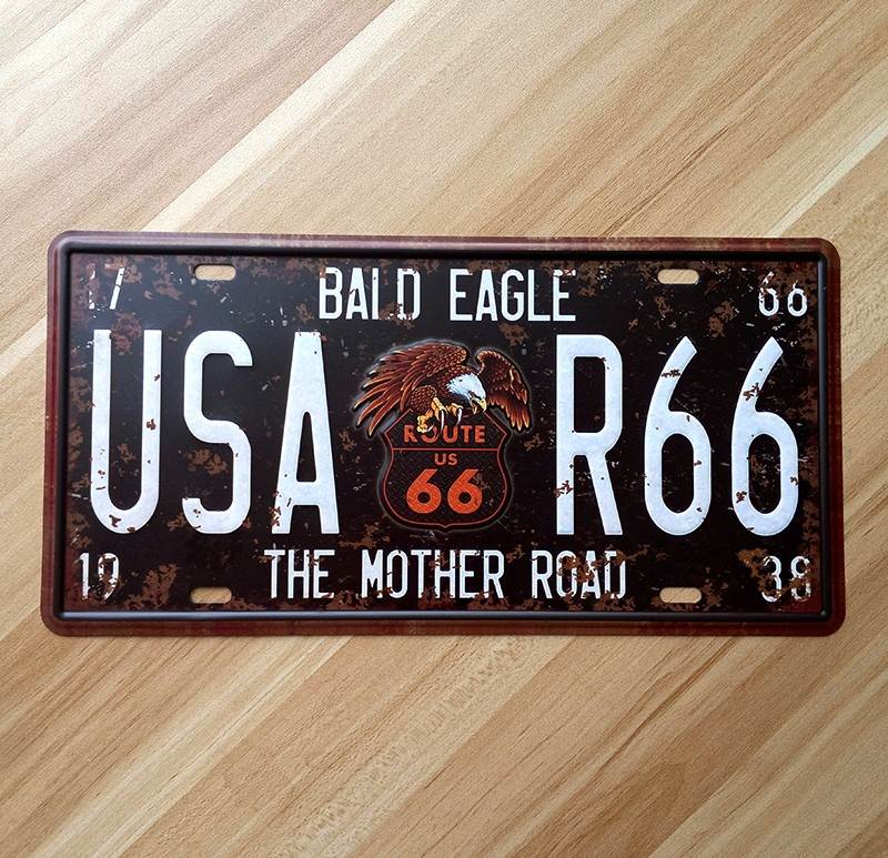 Vintage metal wall art decor House Bar Cafe garage poster antique ROUTE 66 car plates decoration 15*30 CM Free ship YT-00903