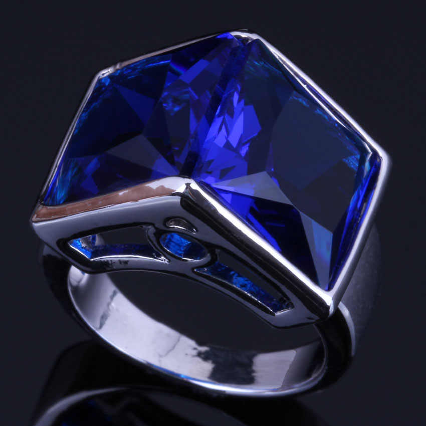 Attractive Double Square Blue Cubic Zirconia 925 Sterling Silver Ring For Women V0492