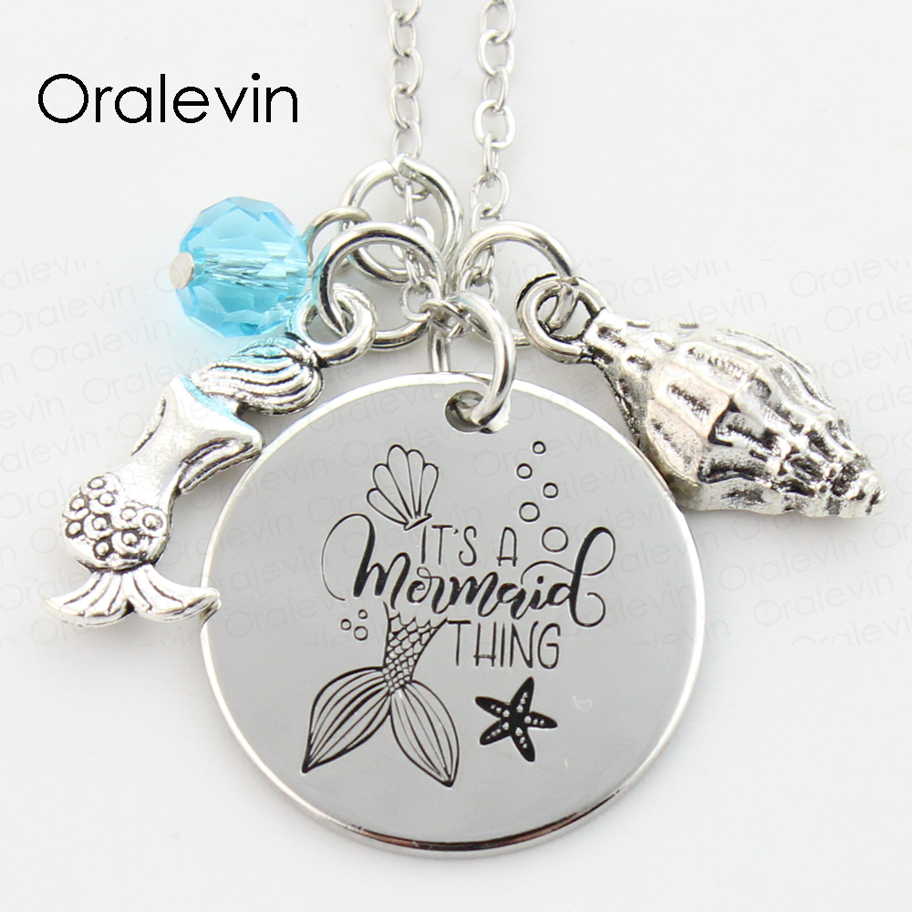 10pcs//lot Mermaid charm it/'s a mermaid thing message StainlessSteel pendant 20mm