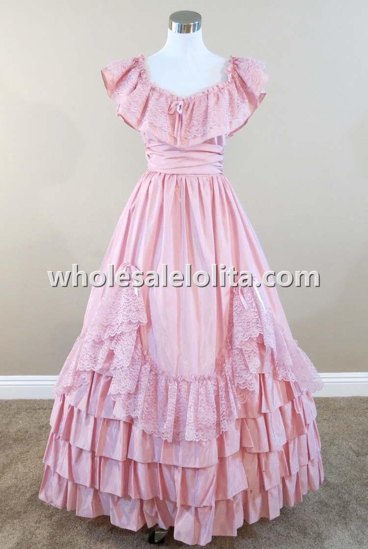 Pink Ruffles y Encaje guerra civil período Vestidos - a292