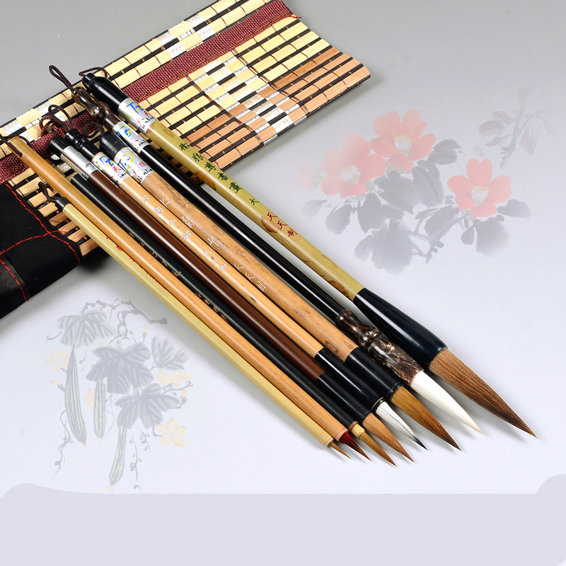 Chinese Traditional Brush Set Painting Landscape Drawing Painting Pen Brush 8 Lian Brush Writing Calligraphy Pen Set vintage faux crystal water drop sweater chain jewelry for women