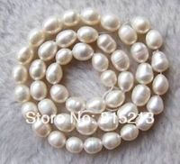 Wb 00143 10PC 7 8mm White Freshwater Pearl Rice Loose Beads String 15