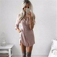 Fall 2017 Fashion Women Long Sleeve Casual Shirt Dress Autumn Winter Khaki Black Sexy Club Party