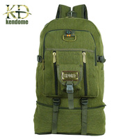 50L Large Capacity Outdoor Sports Backpack High Quality Canvas Travel Rucksack Heavy Duty Bag Mountaineering BackPack