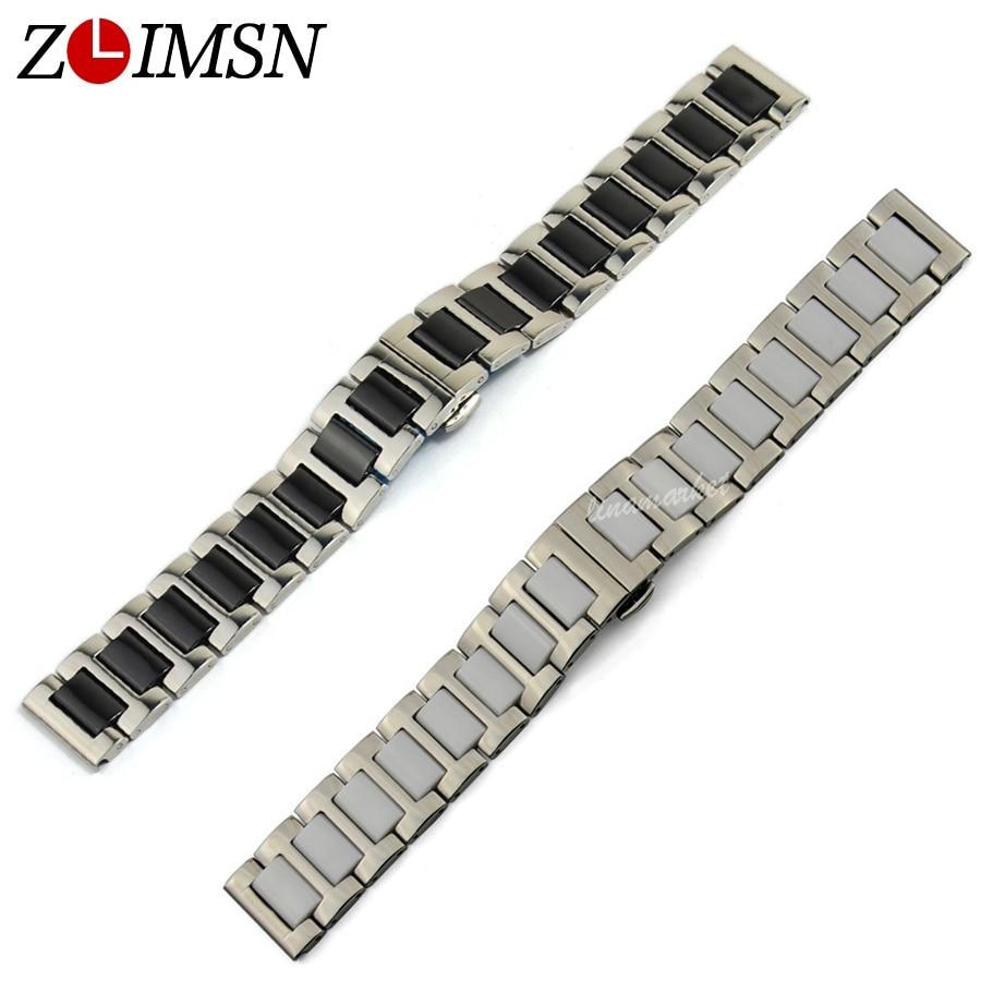 ZLIMSN Black White Ceramic Watchbands 16 20mm Bands Link Stainless Steel Watch Strap Bracelet Watches Accessories
