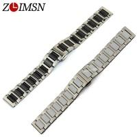 ZLIMSN Watchbands 16mm 20mm Stainless Steel And Ceramics Watch Bands Bracelets Men Women Watchband Relojes Hombre