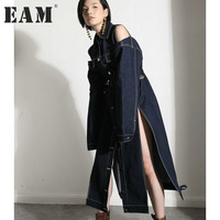 EAM 2017 New Autumn Lapel Long Sleeve Solid Color Off Shoulder White Blue Loose Big