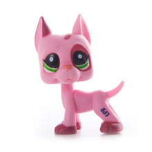 цены Lps Pet Shop Toy cat Pink Great Dane toys Free Shipping cat Short Hair Cat PVC Model Action Figure toys for children Best Gift