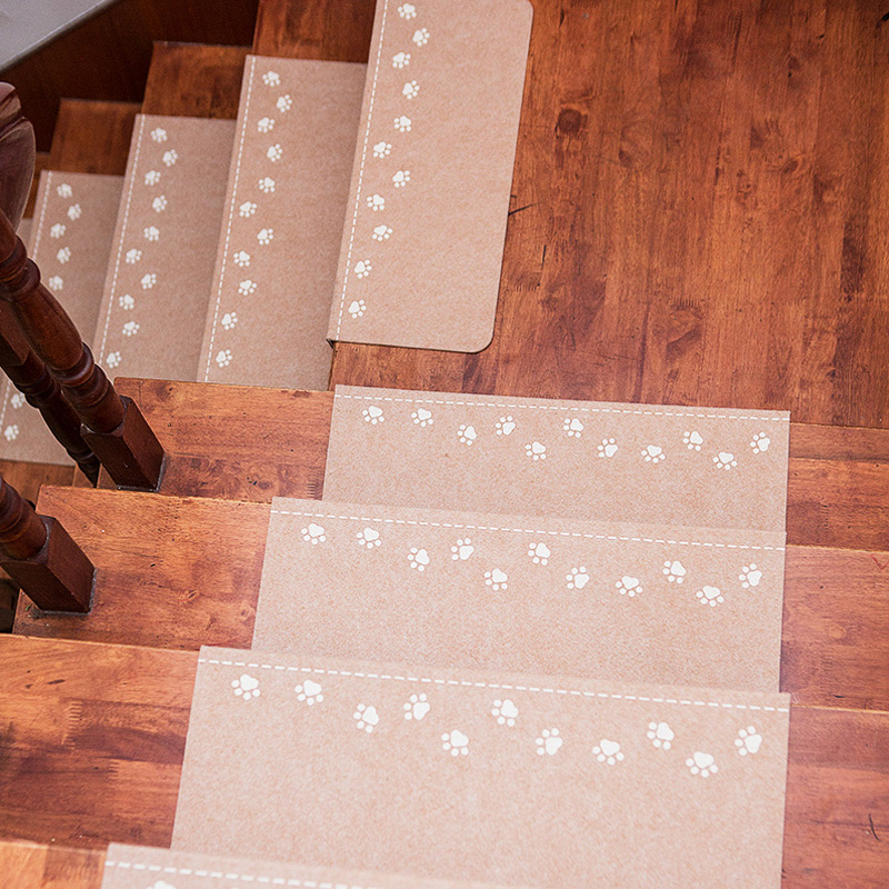 RULDGEE Bear's Footprint Non-Slip Luminous Staircase Pads Step Mats Stair Carpets Treads Protect Staircases From Scratched Wipe