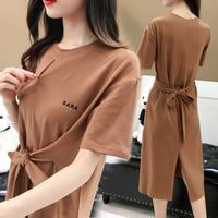 Summer Plus Slim Fit Nursing Dress for Pregnant Short Sleeve Solid Bowknot Breastfeeding Dresses Maternity Elegant Clothes Chic
