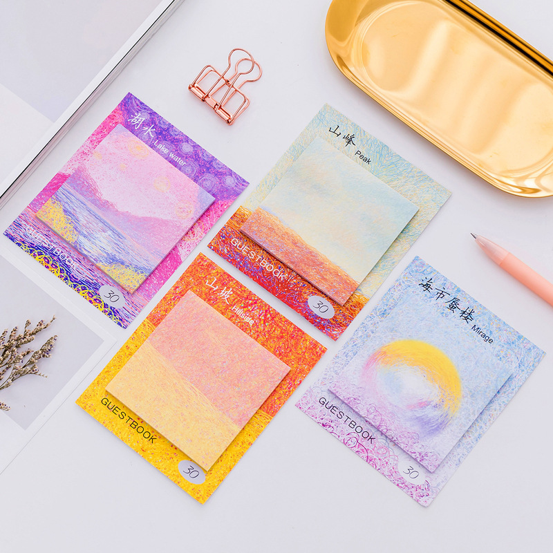 1PC Creative Painting Oil Painting Memo Pad Paper Post Notes Sticky Notes Notepad Stationery Papeleria Office School Supplies rainbow northern europe memo pad paper sticky notes notepad post it stationery papeleria school supplies material escolar