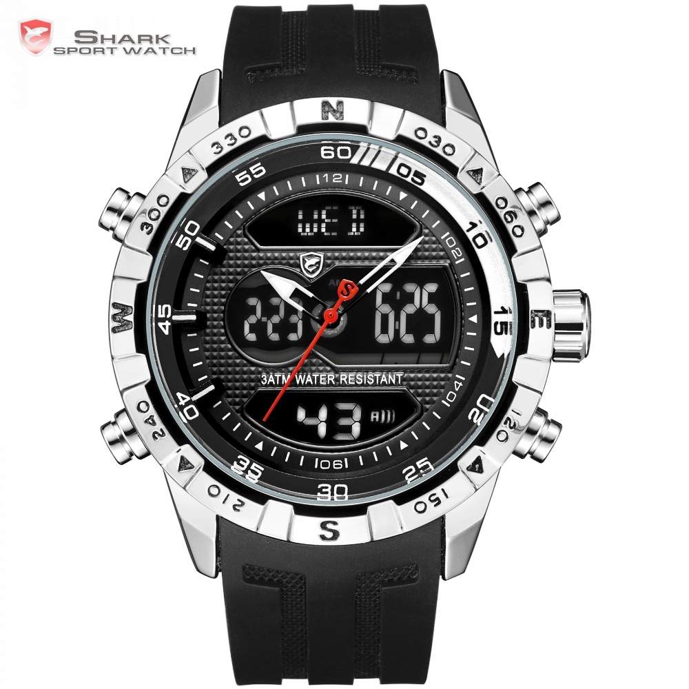 Hooktooth SHARK Sport Watch For Men Double Movement Chronograph Alarm LCD Male Hour 3ATM Water Resistant Black Stopwatch /SH596