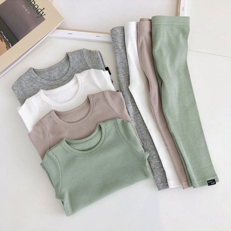Kid's Ribbed Fitted Pajamas Baby Girl Pajamas Kids Boys Children Clothes Autumn Winter Toddler Set Soft Comfortable Long Sleeve