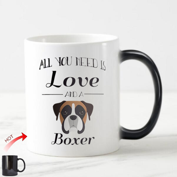 Novelty Boxer Dog Magic Mug Cup All You Note Is Love And A Coffee Mugs