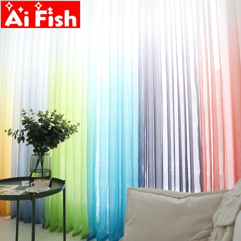 Perdeler Renk Degrade Terilun Tül Pencere Ekran Sırf Panelleri Romantik Düğün Dekor Perde Oturma Odası Yatak Odası Için AP185-3