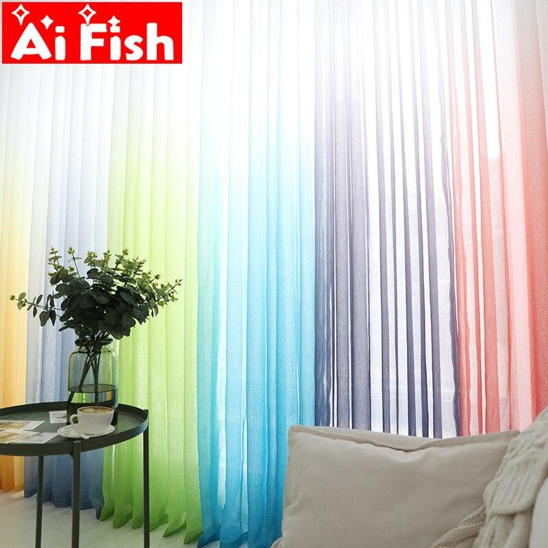Vorhänge Farbverlauf Terilun Tüll Fenster Bildschirm Sheer Panels  Romantische Hochzeit Decor Vorhang Für Wohnzimmer Schlafzimmer AP185 3