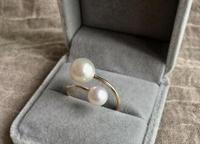 stunning 6mm 10mm round south sea white pearl ring 14kyellow gold