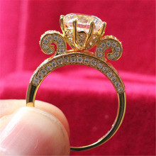 Amazing Quality 3 Carat Yellow Gold Plated Luxury Paved Big Round Diamond Ring For Women Sterling Silver Jewelry 18K Gold Finish cheap THREE MAN 925 Sterling NONE CCGTC Fine Invisible Setting Rings S1607230106 ADY-JZ0162 Classic Wedding Bands Engagement SONA synthetic Carbon Diamond