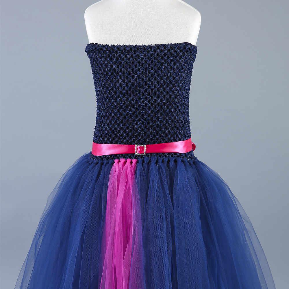 חיל הים כחול, חום פרח ילדה נסיכת שמלת טול ילדים עבור בנות תחרות חתונה מסיבת טוטו שמלת ילדי בגדי 1-14Y