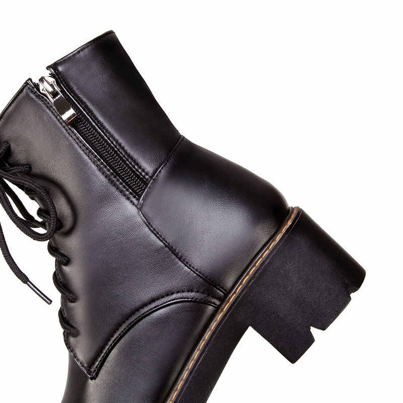 Kadın Platformu Kalın Yüksek Topuk yarım çizmeler Yan Fermuar Lace Up Kış Savaş Botları Siyah Beyaz Bej Kahverengi