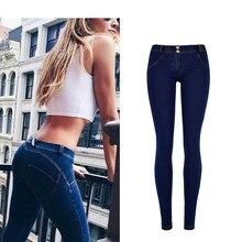 Hot Sale New Arrival Women Dark Blue Skinny Push Up Low Waist Elastic Jeans Ladies Fashion Comfortable Pencil Pants Plus Size