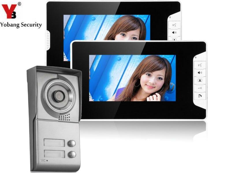 Yobang Security Free Ship Multi Building Video Door Phone Door Intercom Color Video Doorphone Intercom System With 2 Monitor