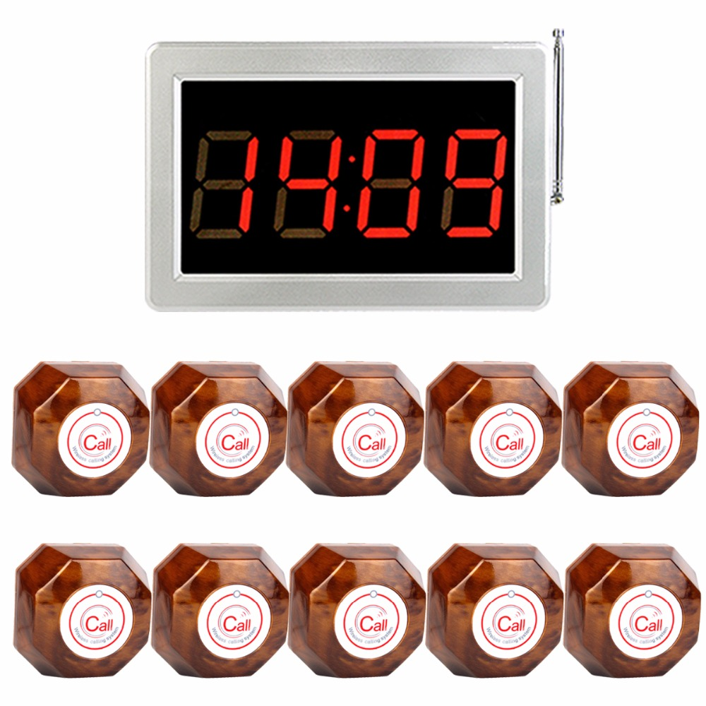 Hotel Waiter Calling Paging System RF Wireless Call Pagers 999 Channel Receiver Host One-Key Wooden Button Transmitter F4409Y mindewin 433mhz restaurant wireless calling paging system 1pc wrist watch receiver host 5pcs black call transmitter button