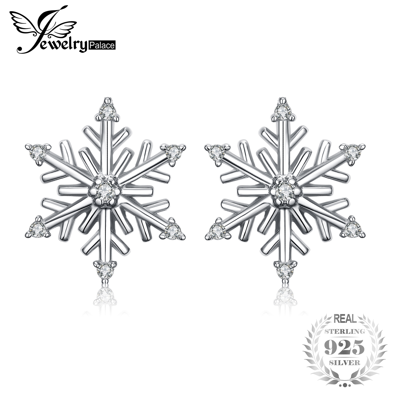 JewelryPalace Elegant Snowflakes Cubic Zirconia Stud Earrings 925 Sterling Silver Stud earrings for women Party wedding earring pair of stylish rhinestone triangle stud earrings for women