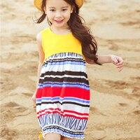 Summer Girls Dress Floral Shoulderless Bohemian Style Sundress For Girls Beach Dress Clothes
