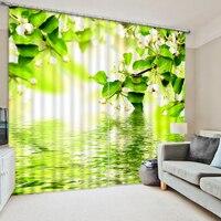 Blooming flores água reflexão foto impressão cortina sombra de tecido acabado de escritório verde