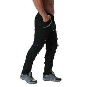 Image 2 - Pantalones Cargo con cremallera de decoración de Metal de alta calidad, Jogger de Hip Hop, pantalón de chándal urbano, ABZ183