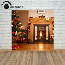 Christmas background Photography 4x6ft Fireplace  tree floor xmas decorations photo shoots Computer print
