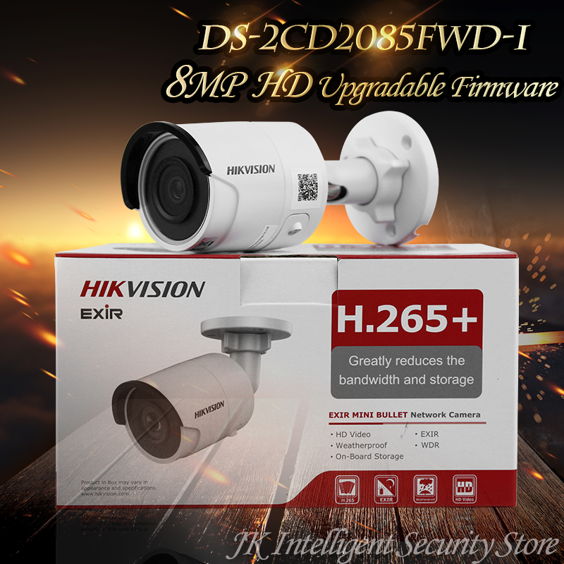 Hikvision English Oversea Version DS-2CD2085FWD-I IP housing 8MP Bullet IR Camera POE security HD Mini White