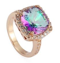 A la moda místico del arco iris de piedra y blanco Cubic Zirconia ocasional 18KGP Rose plateó la joyería anillo R488 sz #6 7 8 9