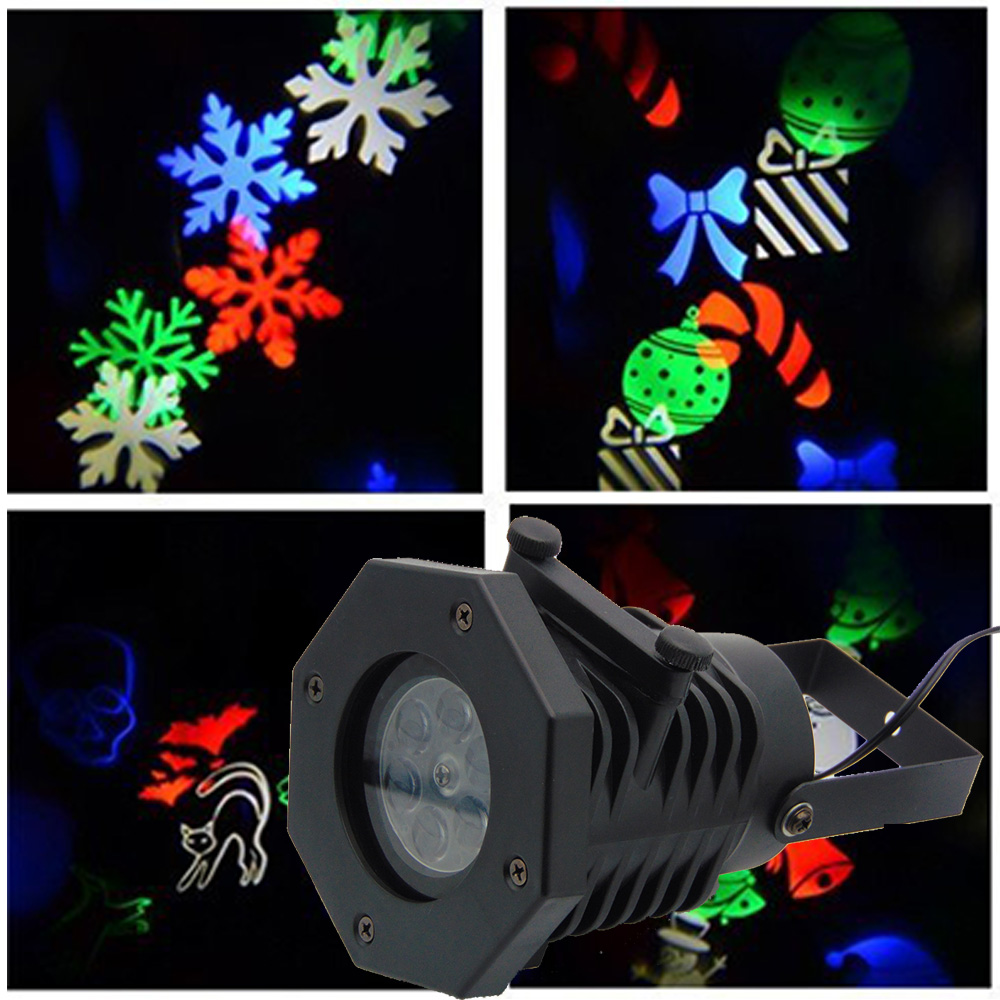 Waterproof Moving Snow Laser Projector Snowflake LED Stage Light For Christmas недорого