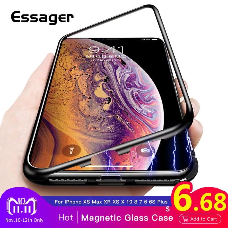Essager Ultra adsorción magnética teléfono caso para iPhone XS Max XR X 10 8 7 6 6 S. R. además de Coque de imán de la cubierta de vidrio de Fundas