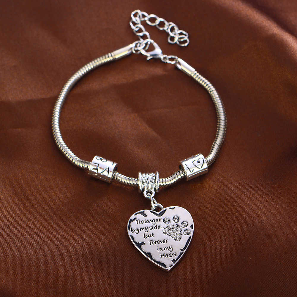 No Longer By My Side But Forever In My Heart Bracelet Bangle Crystal Dog Pet Paws Bracelets Gift For Women Family Animals Lovers