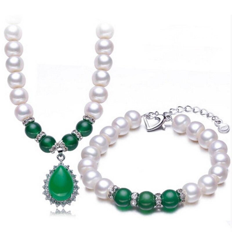 RUNZHUQIYUAN 2017 blanc 100% perle d'eau douce naturelle ensembles de bijoux collier Bracelet 925 bijoux en argent sterling ensembles pour les femmes