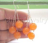 Beautiful 12mm perfect round orangeOnyx earring free+ shippment