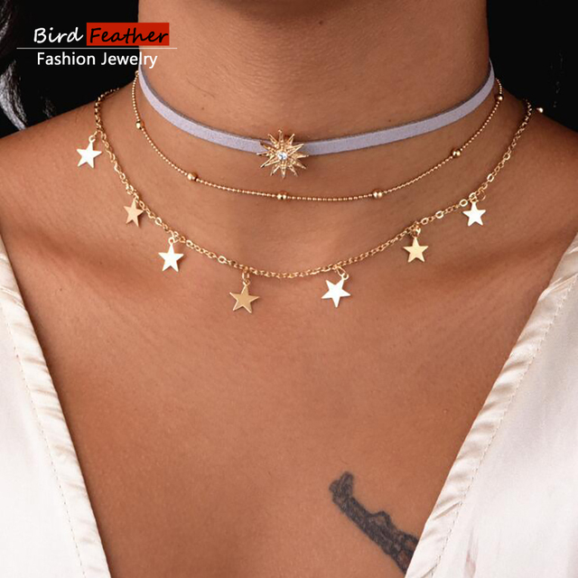 how much do gold necklace crescent moon cost and laces velvet chokers