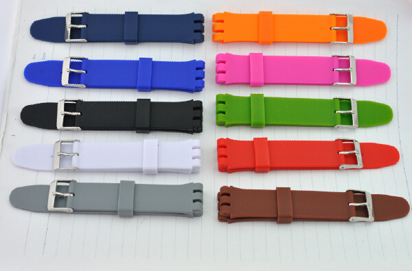 1PCS High Quality 12mm 17mm 19mm Silicone Rubber Watch band For Swatch Rubber strap 12 colors available-WB0208 swatch mire noire mens watch yws411g