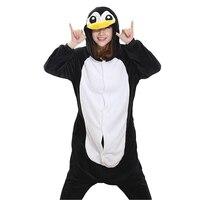 Unisex Adult Winter Pajamas Penguin Animal Pajama Sets Lovely Hooded Homewear Flannel Sleepwear Female Cute Cartoon