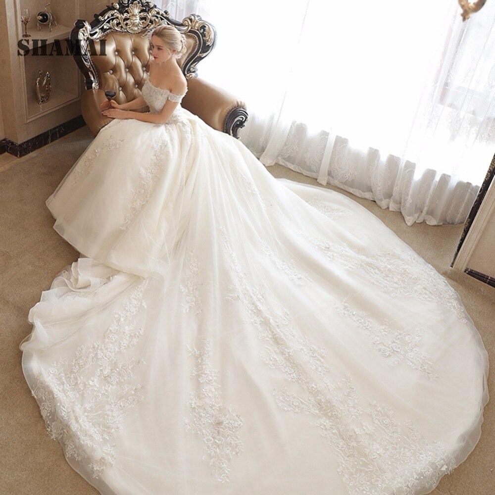 Royal luxury trian Весна с плеча Свадебное бальное платье с аппликацией Свадебные Вечерние платья на шнуровке Vestidos de festa невесты платья