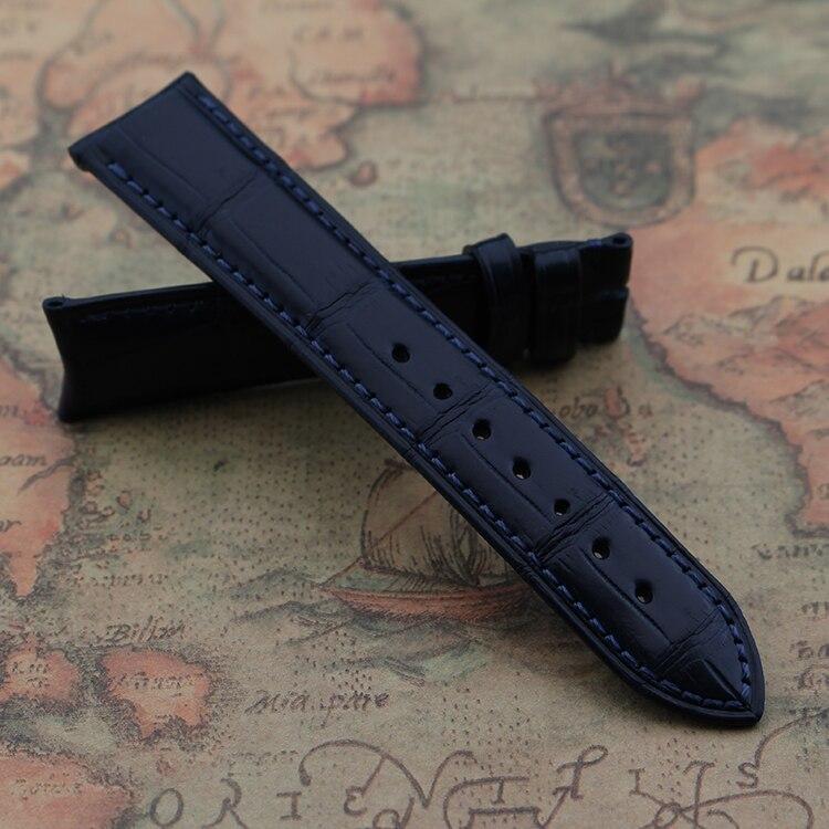 Bracelets de bracelet en cuir de Crocodile faits sur commande de 19 MM 20 MM 22 MM bracelet en cuir d'alligator bleu foncé extrémité incurvée faite main masculine