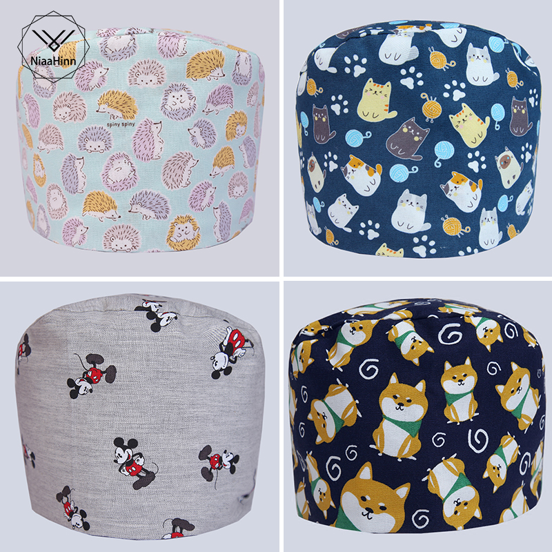 New Medical Surgical Scrub Caps Beauty Salon Surgeon's Surgery Cartoon Print Cap Dentist Pet Doctor Nurse Hats Pharmacy Work Cap