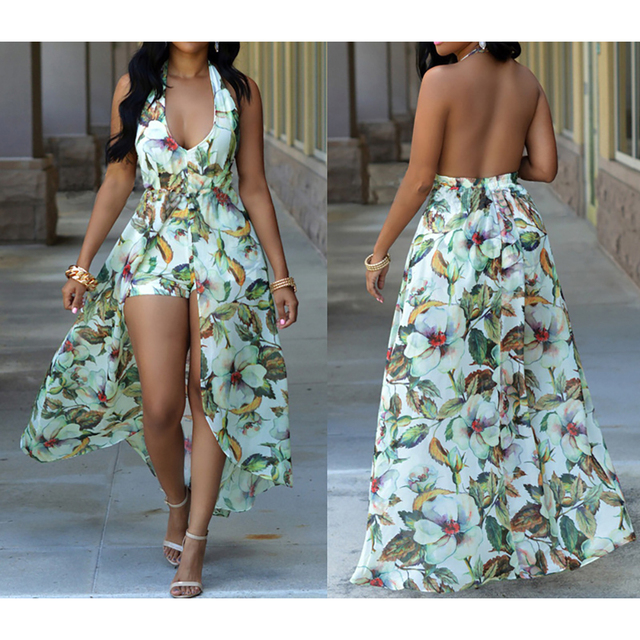 394a8d4ce2 Long Flower Retro Bohemian Maxi Dress + Shorts Women Chiffon Printed Sexy  Ethnic Deep V-neck Floral Beach Dress Boho Hippie Robe