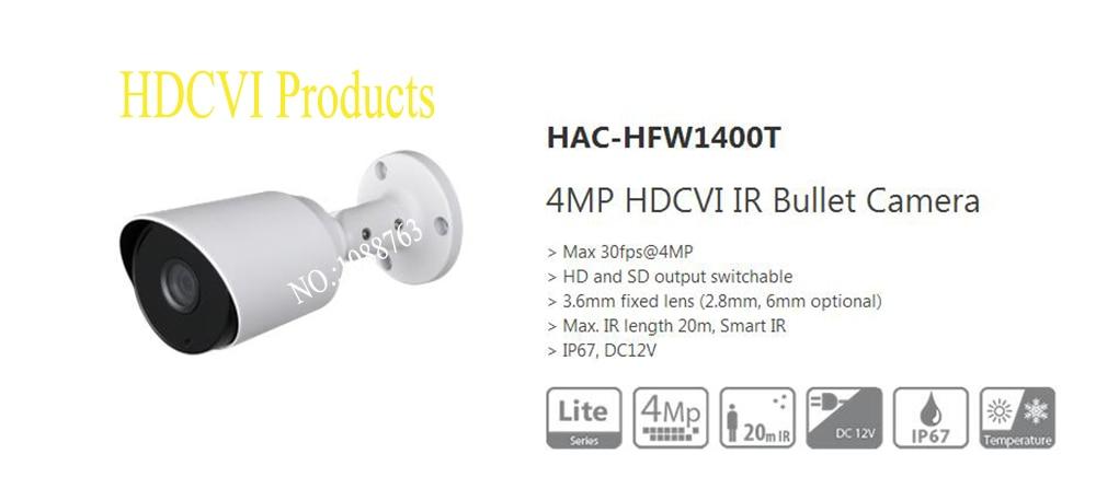 Free Shipping DAHUA Security Camera CCTV 4MP HDCVI IR Bullet Camera IP67 without Logo HAC-HFW1400T